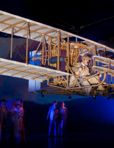 Orville Wright soaring over the audience in Flight onboard Symphony of the Seas