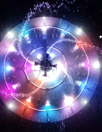 Testing the lights of the Aquatic Catherine Wheel